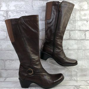 Clarks 7N Knee High Boot Brown Leather